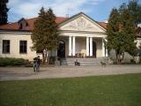 Przed pałacem w Dłużewie. Po prawej wyraźnie nam nierad miejscowy psi gospodarz parku